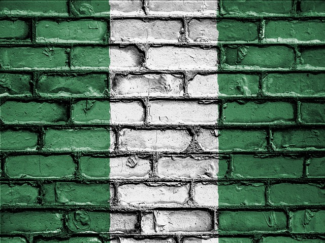Nigerian flag-painted wall