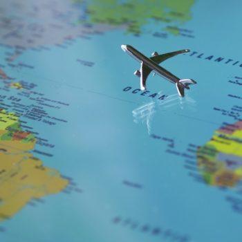 plane going across the globe