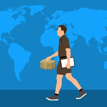 man carrying package across the globe