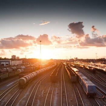 cargo trains on tracks