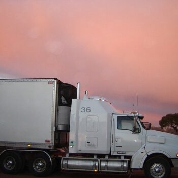 freight truck in sunset