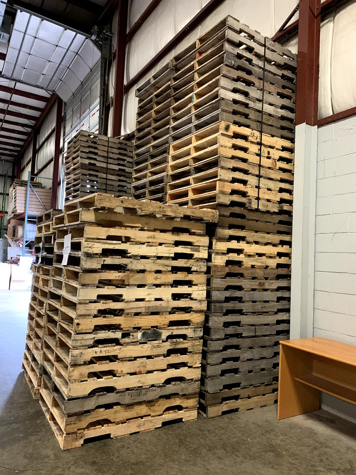 pallets in a warehouse